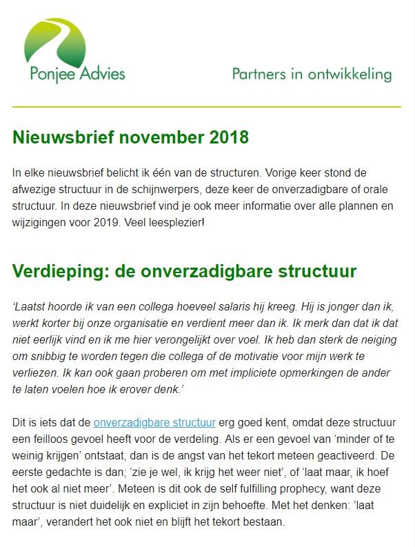 Nieuwsbrief november 2018 Ponjee advies