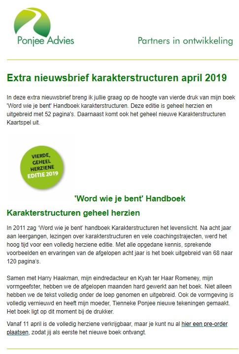 Nieuwsbrief april 2019 Ponjee advies