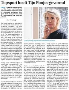 Topsport heeft Tijn Ponjee gevormd krantenartikel